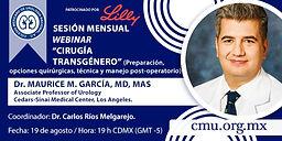 """Sésion Mensual Webinar """"Cirugía Transgénero"""" (Preparación, opciones quirúrgicas, técnica y manejo post-operatorio)"""