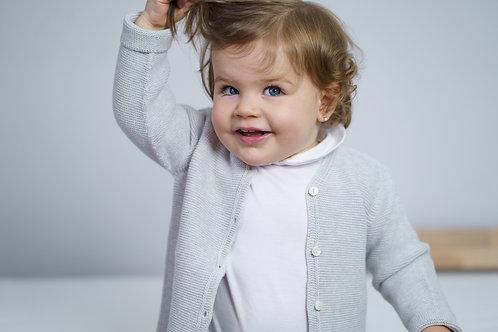 Petit Oh! Gilet en coton gris clair