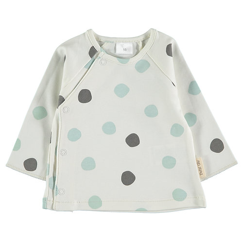 "Petit Oh!  T-shirt ""Tim"" à pois Aqua"