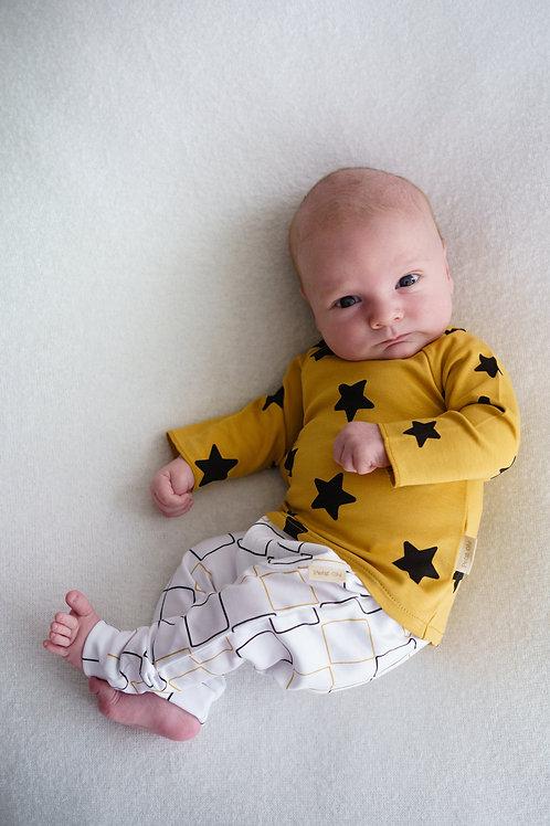 Petit Oh! Pantalon sans pieds blanc à carreaux ocre et noir