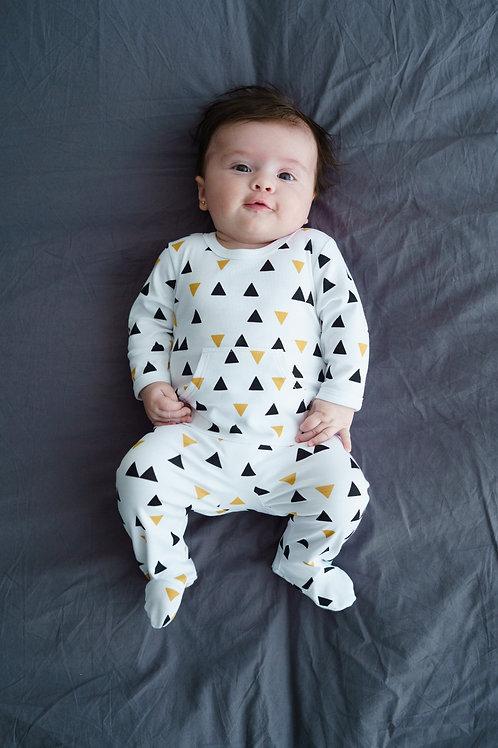 Petit Oh! Pyjama longues manches blanc, noir et ocre