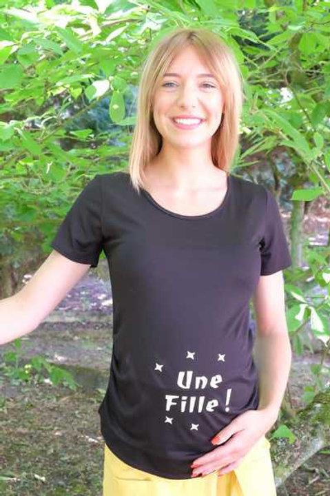 """618-Tee shirt """"Une fille"""" noir"""