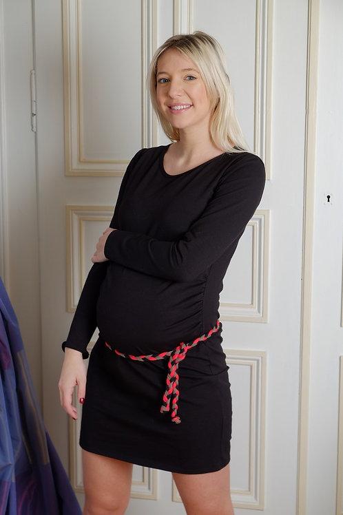 670-Robe noire ceinture tresse