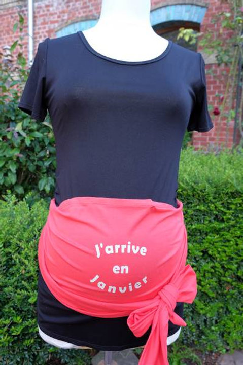 "623-Ceinture "" J'arrive "" rouge"