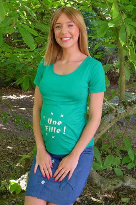 """619-Tee shirt """"Une fille"""" vert"""
