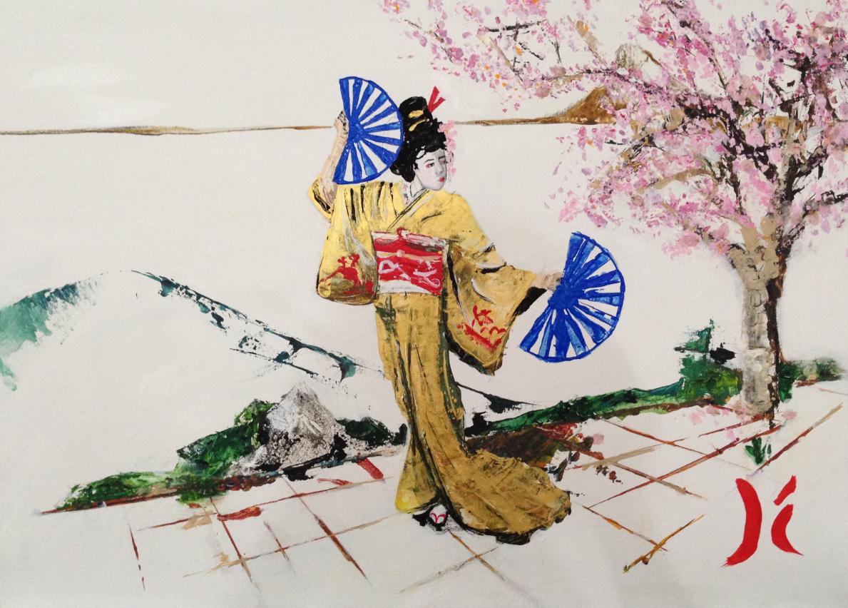 Danse sous un cerisier en fleur