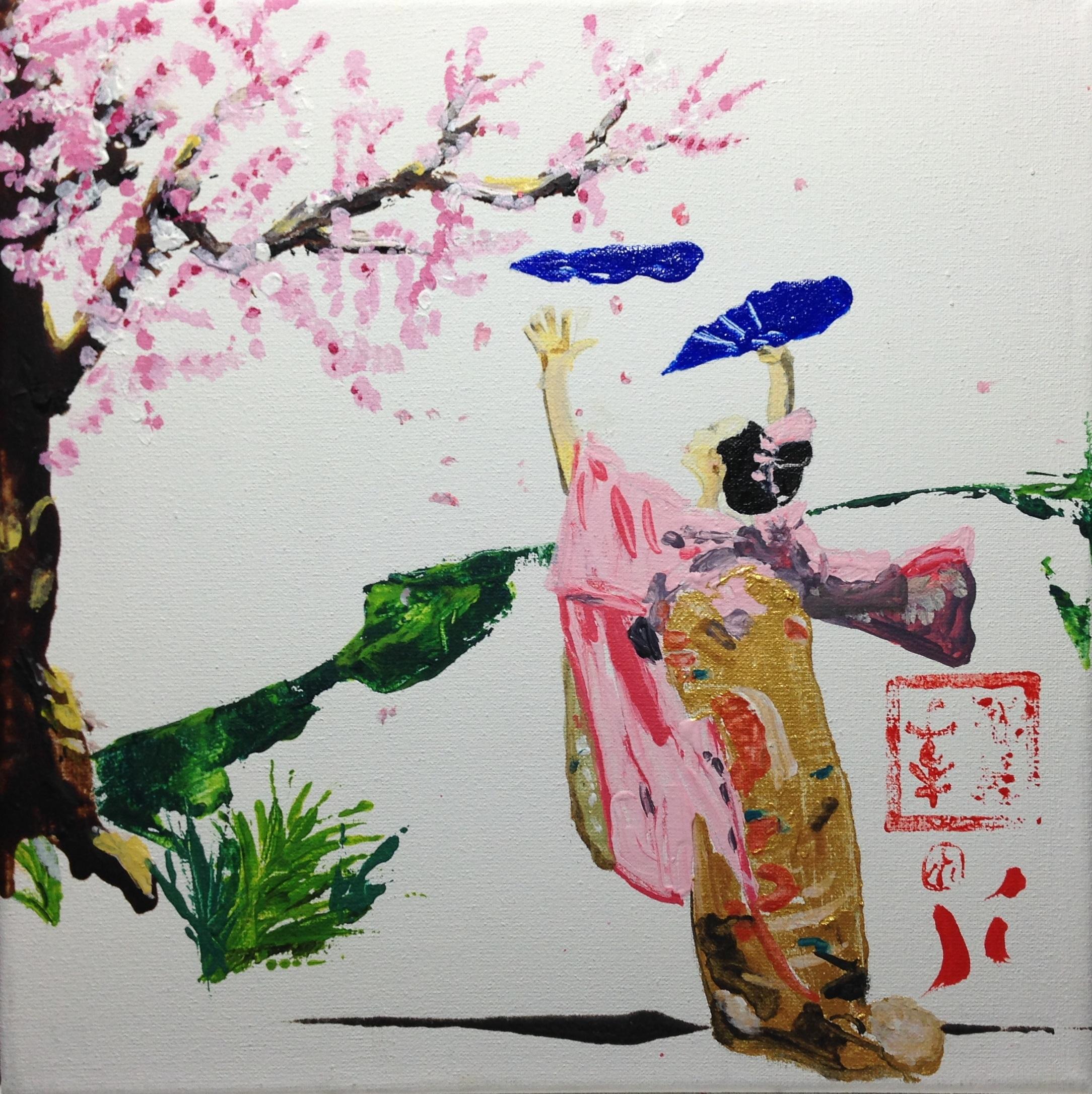 Danse à l'éventail sous un cerisier