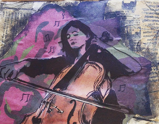 Miriam Nohl playing Cello, by H Simms