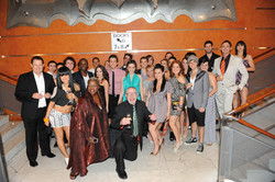 The cast of FAME with producer John Frost