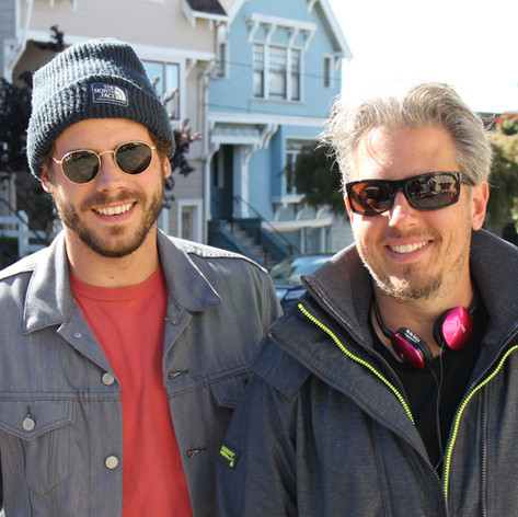 "Jeremy Alter and Francois Arnaud on the set of ""She's in Portland"""