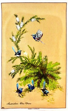 Tasmanian_souvenir_tea_towel_blue_wrens_