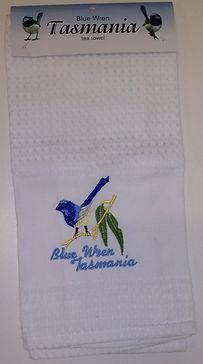blue wren tasmanian souvenir tea towel .