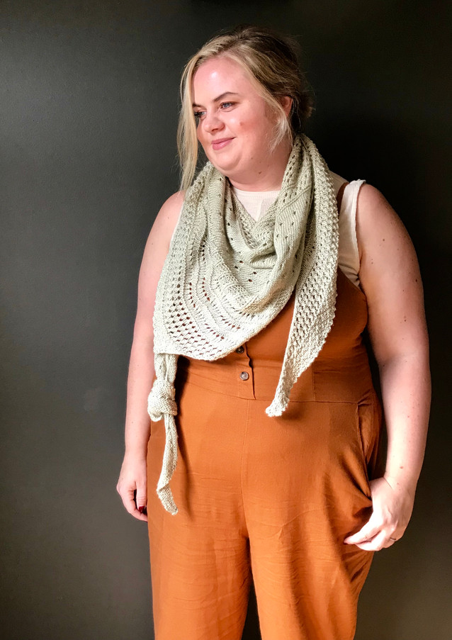 Local Yarn Shawl knit in Fingering base, Silver Mint color.