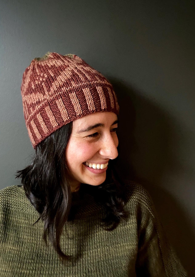 The Winter Tee knit in Worsted Multi, Evergreen color. Shik'is Hat knit in MO Minis Worsted Multi, Garnet, Earth and Olive color.