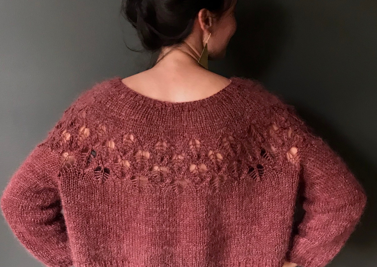 Love Note knit in Sport Single and Lace, Garnet color.