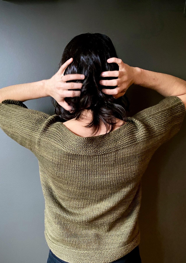 The Winter Tee knit in Worsted Multi, Evergreen color.