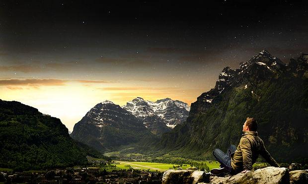 Composing Berge Hintergrund ohne Belicht