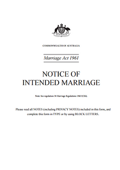 notice of intended marriage, wedding celebrant
