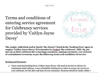 Service Agreement Caitlyn Davey