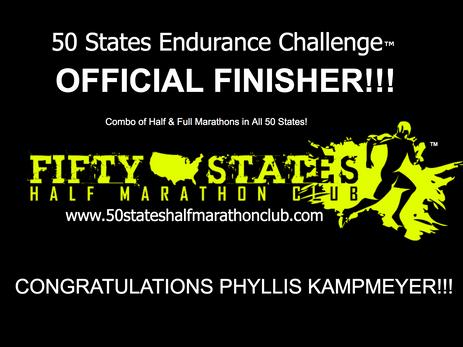Phyllis Kampmeyer (Pembroke Pines, Florida) 50 States Endurance Challenge Finisher