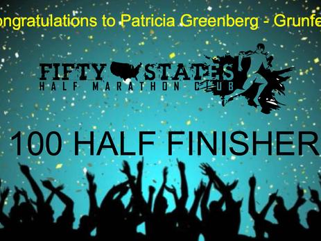 100 Half Anywhere Challenge Finisher - Patricia Greenberg-Grunfeld