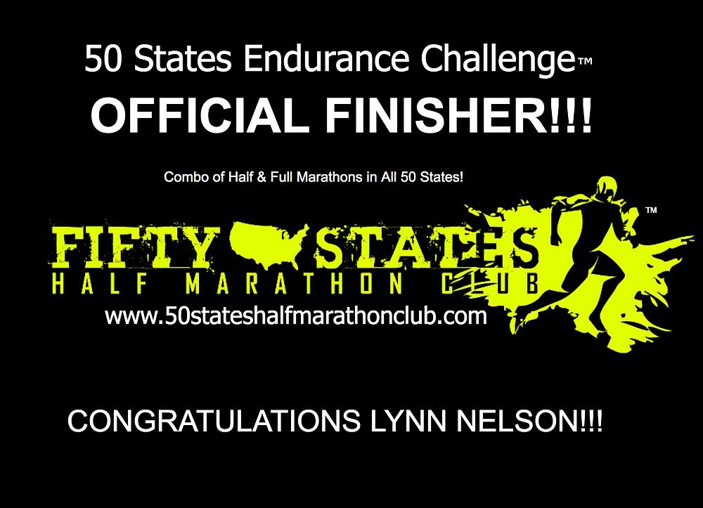 Lynn Nelson 50 States Endurance Challenge finisher