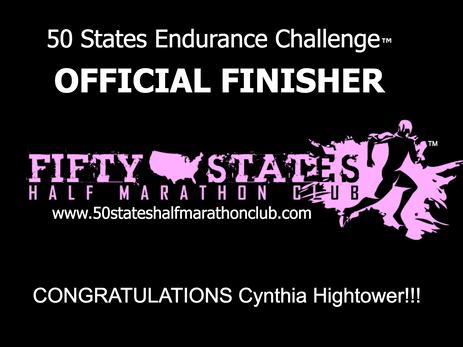 Cynthia Hightower (Columbus, Georgia) - 50 States Endurance Challenge Finisher