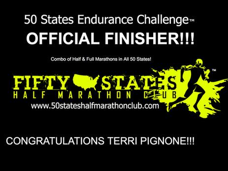 Terri Pignone (Indialantic, Florida) 50 States Endurance Challenge Finisher and 100th Half Marathon