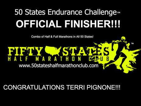 Terri Pignone (Indialantic, Florida) 50 States Endurance Challenge Finisher and 100th Half Marathon