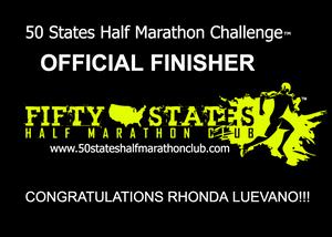 Rhonda Luevano 50 States Half Marathon Challenge Finisher