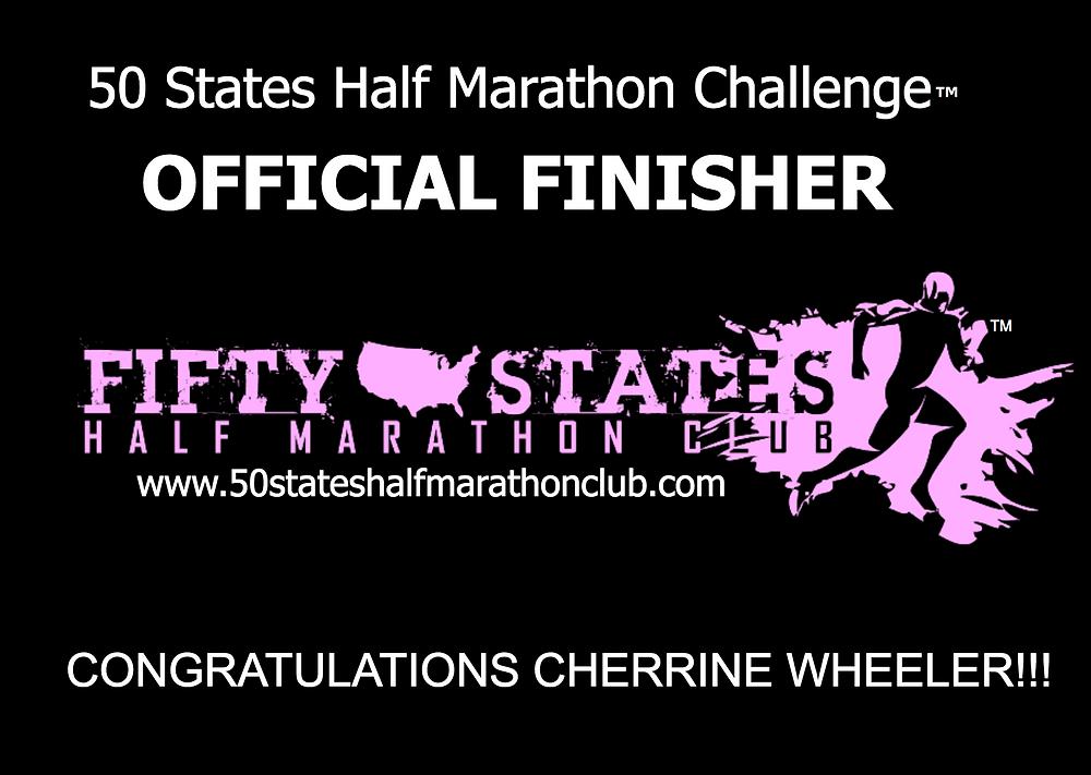 Cherrine Wheeler 50 States Half Marathon Challenge finisher