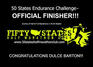 Dulce Barton 50 States Endurance Challenge Finisher