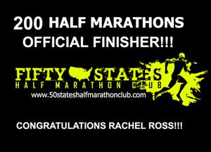 Rachel Ross 200 Half Marathons Finisher