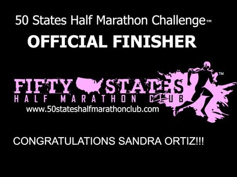 Sandra Ortiz (Port St. Lucie, Florida) 50 States Half Marathon Challenge Finisher