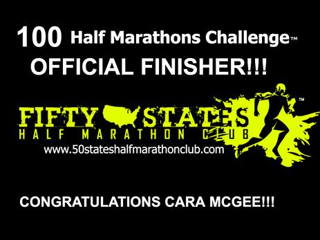 Cara McGee (Mangum, Oklahoma) 100 Half Marathons Challenge Finisher
