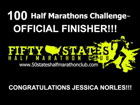 Jessica Norles (Alexandria, Virginia) 100 Half Marathons Challenge Finisher