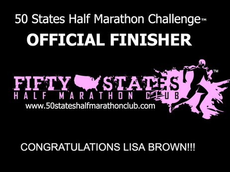 Lisa Brown (Philadelphia, Pennsylvania) 50 States Half Marathon Challenge Finisher