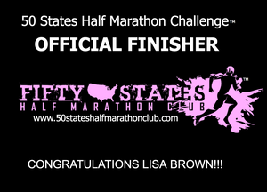 Lisa Brown 50 States Half Marathon Challenge finisher