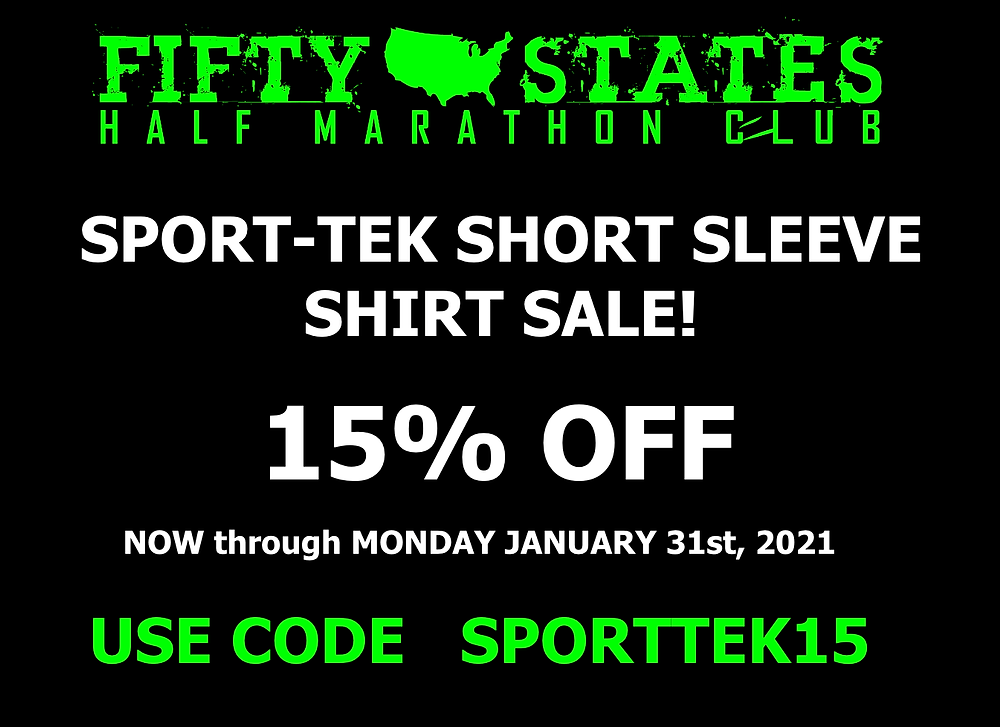 50 States Half Marathon Club Shirt Sale