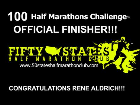 Rene Aldrich (Portland, Tennessee) 100 Half Marathons Challenge Finisher