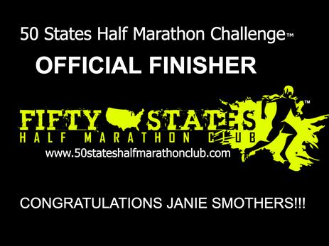 Janie Smothers (Bruceton, Tennessee) 50 States Half Marathon Challenge Finsiher