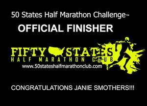 Janie Smothers 50 States Half Marathon Challenge finisher