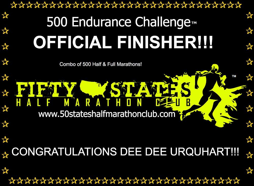500 Endurance Challenge Finisher Dee Dee Urquhart