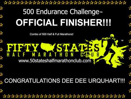 Very First Finisher of the 500 Endurance Challenge - Dee Dee Urquhart (West Hills, California)