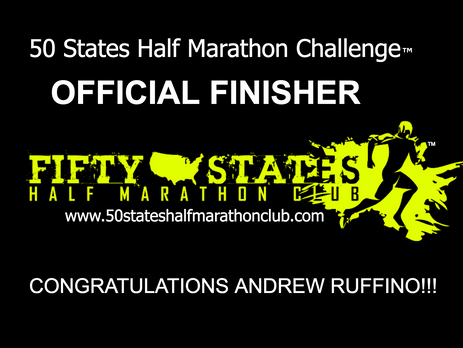 Andrew Ruffino (Morris, New York) 50 States Half Marathon Challenge Finisher and 100th Half Marathon