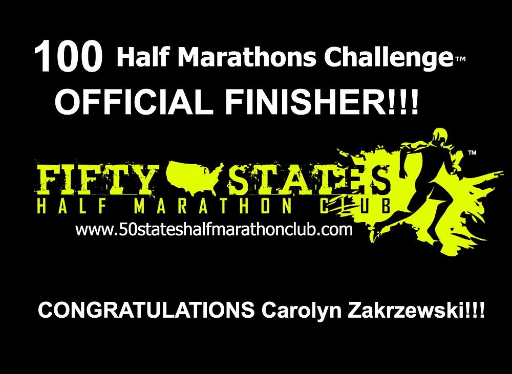 100 half marathons challenge finisher