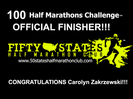 Carolyn Zakrzewski (Cheney, Washington) 100 Half Marathons Challenge Finisher