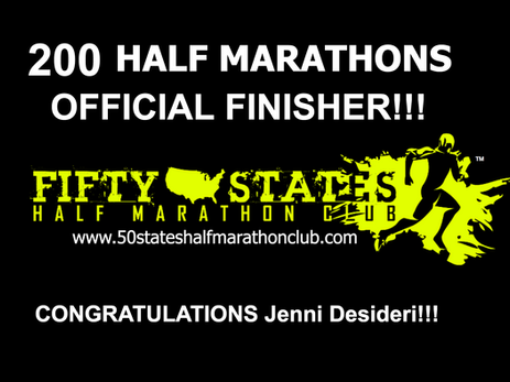 Jenni Desideri (San Francisco, California) Finishes 200th Half Marathon!