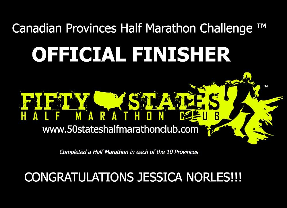 Jessica Norles Canadian Provinces Half Marathon Challenge finisher