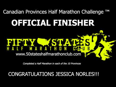 Jessica Norles (Alexandria, Virginia) Canadian Provinces Half Marathon Challenge Finisher